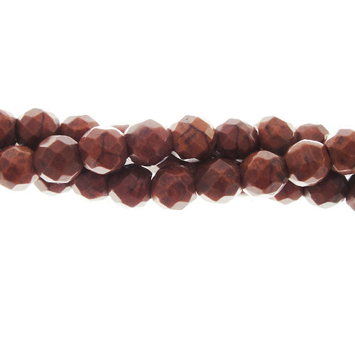 "GM-0048 - 6mm Faceted Howlite Gemstone Bead Strand,Chocolate | 16"" Str"