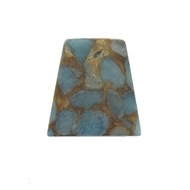 GM-0035 -Composite Agate Trapezoid Gemstone Pendant, Blue/Brown, 25x30mm | Pkg 1