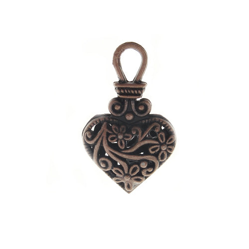 AB-0285 - Antique Copper Fancy Filigree Heart Pendant/Charm | Pkg 2