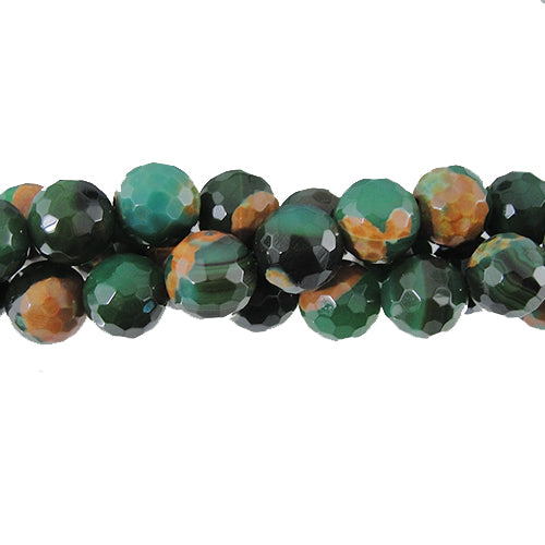 GM-0061 - Faceted 10mm Agate Gemstone Bead Strand,Green/Brown | Str