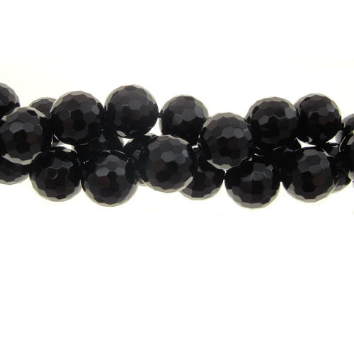 GM-712 - 10mm Faceted Black Onyx Gemstone Bead Strand | Pkg 1 Strand