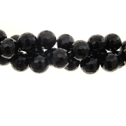"GM-0109 - 8mm Black Onyx Faceted Gemstone Bead Strand | 16"" Str"