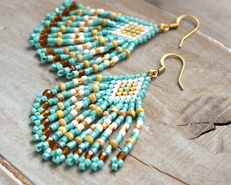 #PDF-311 - Turquoise Fringe Earrings Project by Miyuki