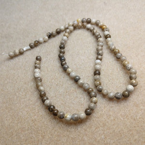GM-1020 - Silver Leaf Jasper 4mm Gemstone Bead Strand | Pkg 1