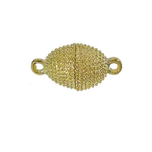 AB-9401 - Gold Plated Beaded Oval Magnetic Clasp, 10x20mm | Pkg 1