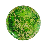 GM-0042 -Green Variscite 45mm Round Gemstone Pendant | Pkg 1