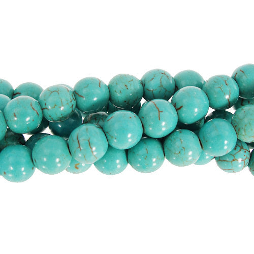"GM-0100 - 10mm Turquoise Howlite Round Gemstone Beads | 16"" Strand"