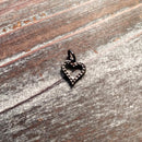 AB-3366 - Gunmetal Heart Charm With Crystals, 10mm | Pkg 1