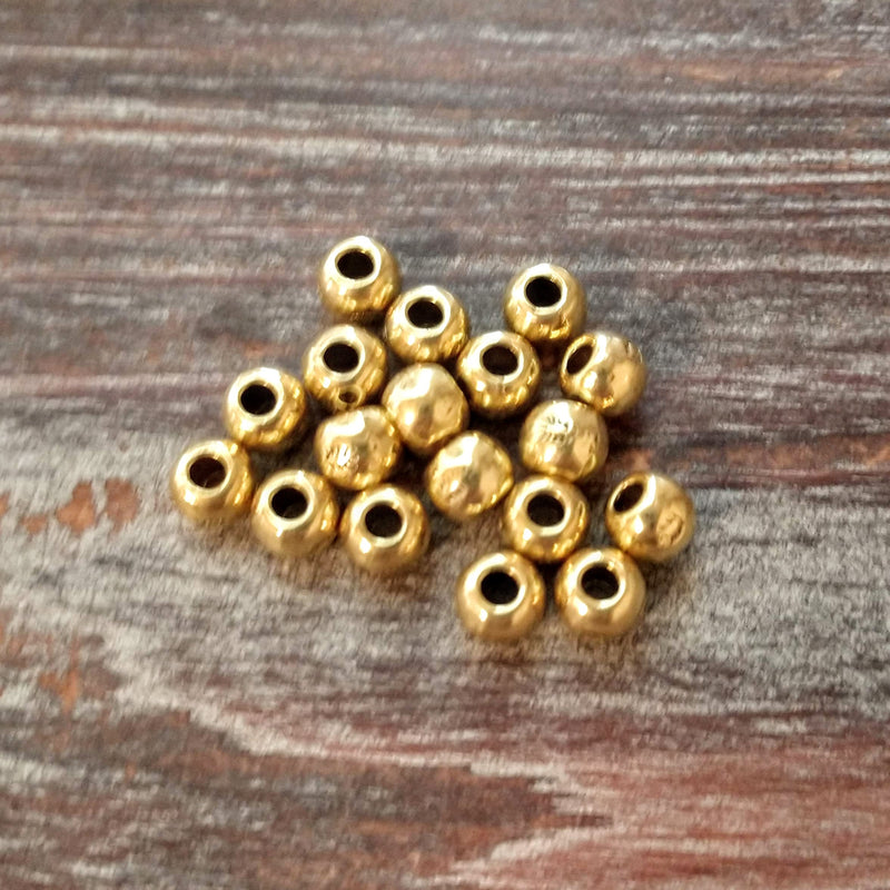 AB-3512 - Large Hole Gold Plated Beads, 7mm | Pkg 10