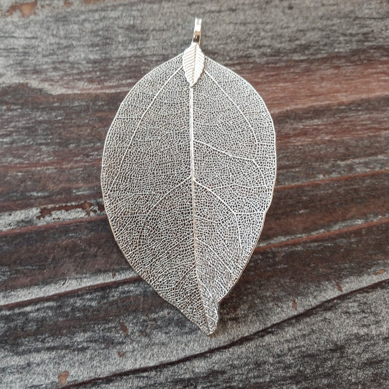 AB-2068 - Antique Silver Genuine Leaf Pendant,35x80mm | Pkg 1