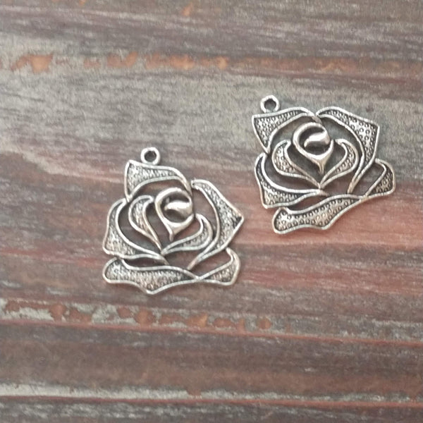 AB-5415 - Antique Silver Open Rose Pendant, 27mm | Pkg 2