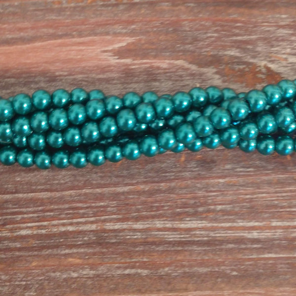 GPRL-0047 - Glass Pearl Bead Strand,  Dynamic Teal, 6mm | 1 Strand