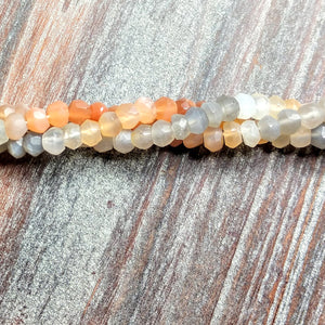 GM-0183 - Mixed Moonstone Gemstone Bead Strand, Rondelles, Faceted, 4x5mm | Pkg 1 Strand