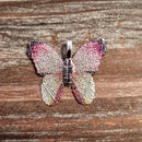 AB-3300 - Butterfly Pendant, Electroplated Leaf, Fuchsia/Silver, 31mm | Pkg 1