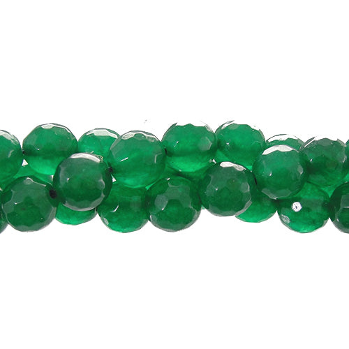 "GM-0058 - 8mm Faceted Jade Gemstone Bead Strand,Emerald | 16"" Str"