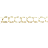 CHN-0023 - Gold Plated Textured Curb Chain, 9mm | 5 Feet