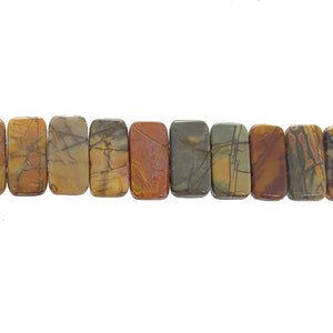 "GM-0136 - New Picasso Jasper Double Drilled Gemstone Bead Strand,12x20mm | 8"" Str"
