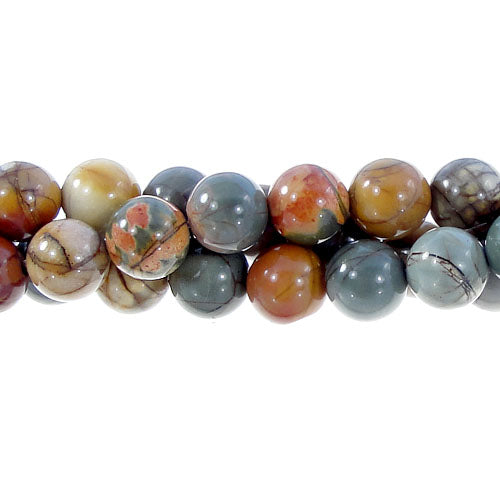 "GM-0123 - 8mm New Picasso Jasper Round Gemstone Beads | 16"" Strand"