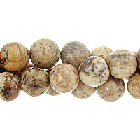 "GM-0069 - 8mm Picture Jasper Round Gemstone Bead Strand | 16"" Str"