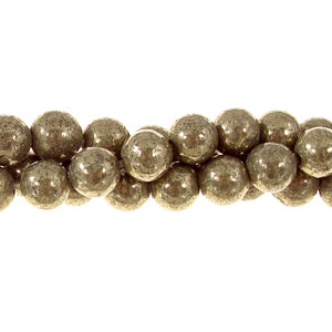 "GM-0158 - 6mm Pyrite Round Gemstone Bead Strand | 16"" Str"