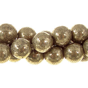 "GM-0071 - 8mm Pyrite Round Gemstone Bead Strand | 16"" Str"
