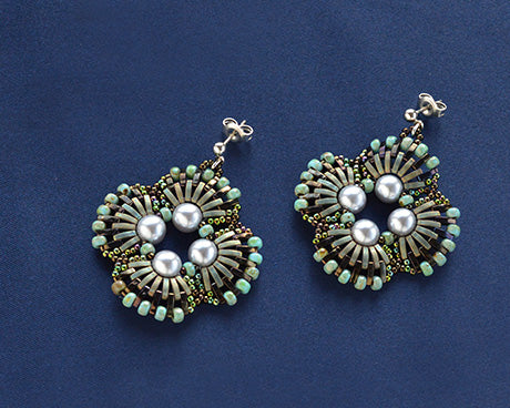 #PDF-347 - Quarter Tila Earrings Project by Miyuki