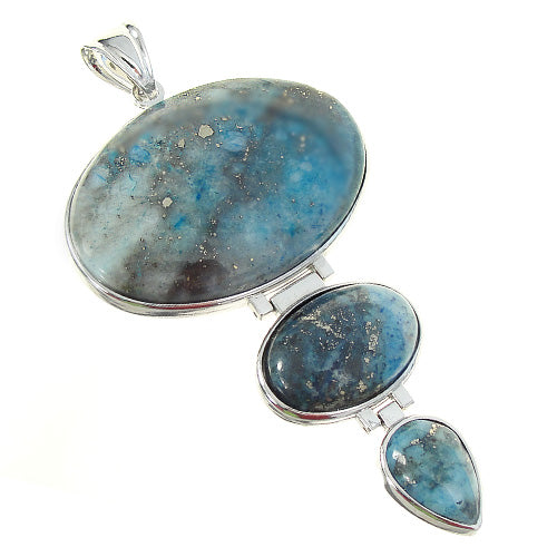 GM-0044 -Denim Lapis Rhodium Plated Triple Gemstone Pendant | Pkg 1