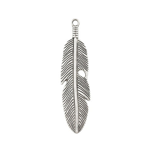 AB-0100 - Silver Pewter Feather Pendant, 14x60mm | Pkg 2