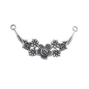 AB-0101 - Antique Silver Pewter Jewelry Connector With Flowers | Pkg 2
