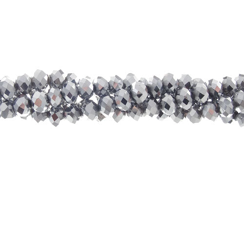 CC-080 - Chinese Crystal 4x6mm Rondelles,4x6mm,Silver | 1 Strand