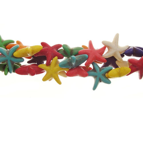 "GM-0108 - 14mm Multi-Color Starfish Howlite Gemstone Beads | 16"" Strand"