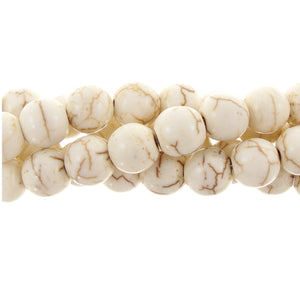 "GM-0133 - 8mm Cream Howlite Round Gemstone Bead Strand | 16"" Str"
