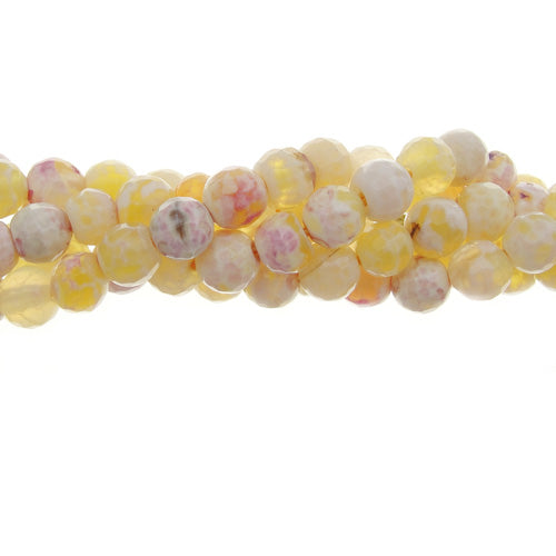 "GM-0107 - 6mm Antique Yellow Agate Faceted Round Gemstone Bead Strand | 16"" Str"