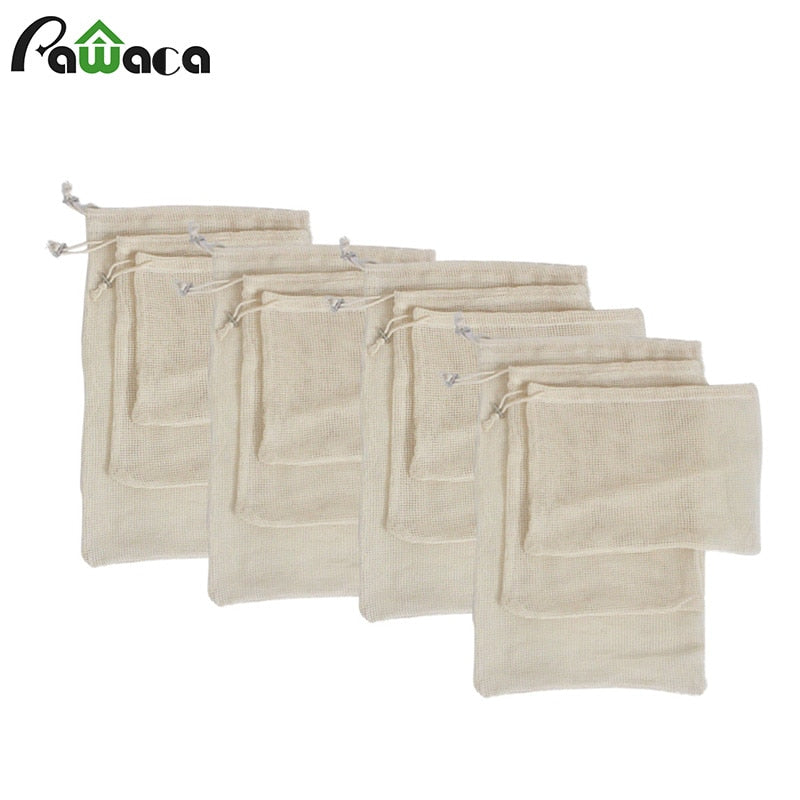 Premium Organic Cotton Produce Bags (set of 6, 12 or 15)
