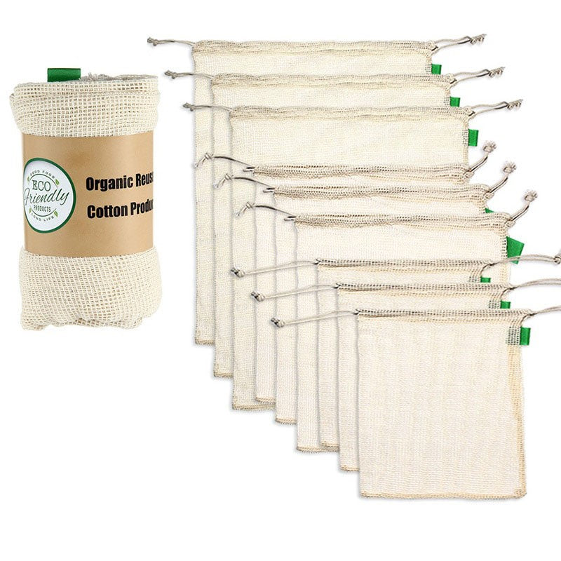 Premium Organic Cotton Produce Bags (set of 9)