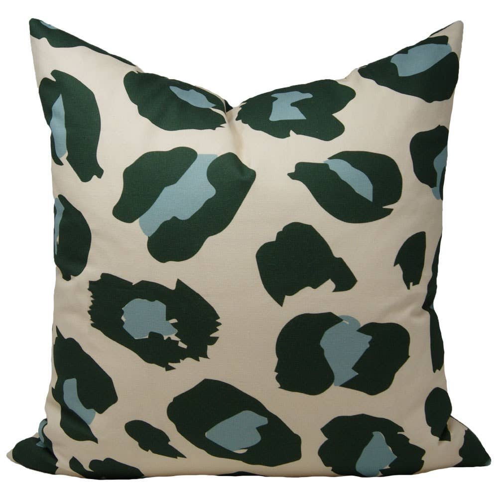 Green & Blue Leopard Pillow