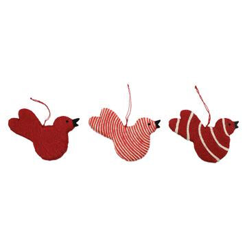 Assorted Ornament Red Bird Set/3