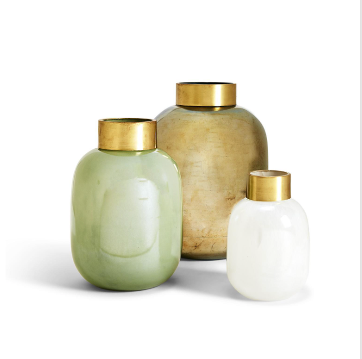 Decorative Vases with Gold Trim