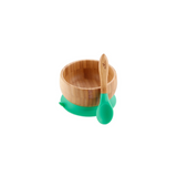 Green Bamboo Suction Baby Bowl + Spoon
