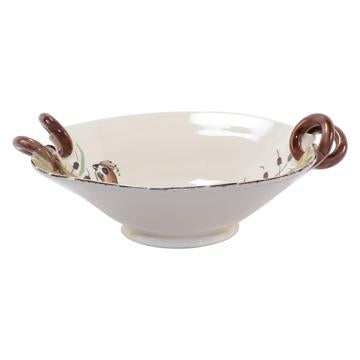 Wildlife Quail Handled Scallop Bowl