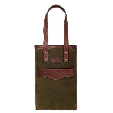 Campaign Waxed Canvas Two Bottle Wine Tote