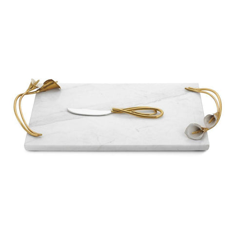 Calla Lily Marble Cheese Board w/ Knife
