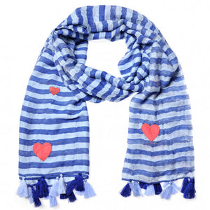 """ Schal ""Stripes & Hearts"" blau - von cute stuff """