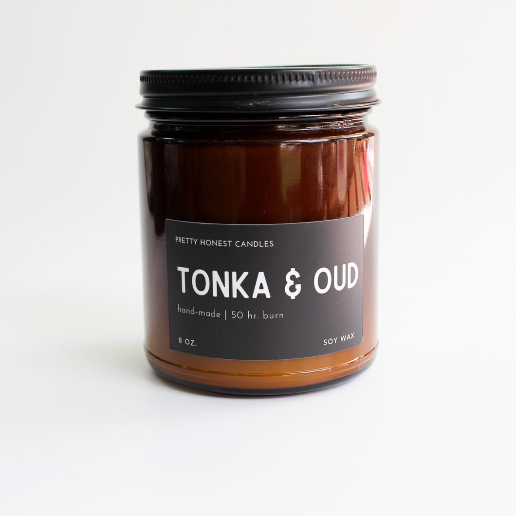 Tonka & Oud Soy Candle - Pretty Honest Candles