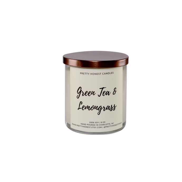 Green Tea & Lemongrass Soy Candle - Pretty Honest Candles