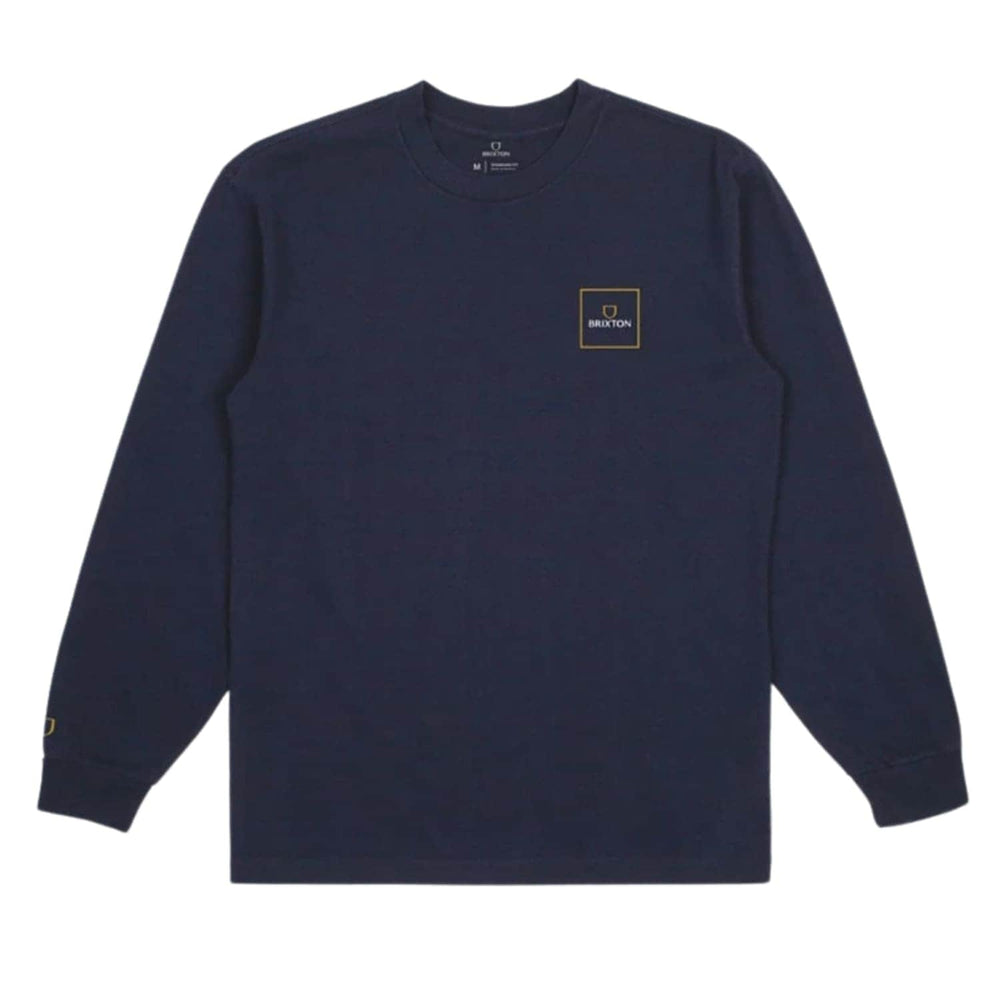Brixton Alpha Block L/S T-Shirt Navy - Mens Plain T-Shirt by Brixton