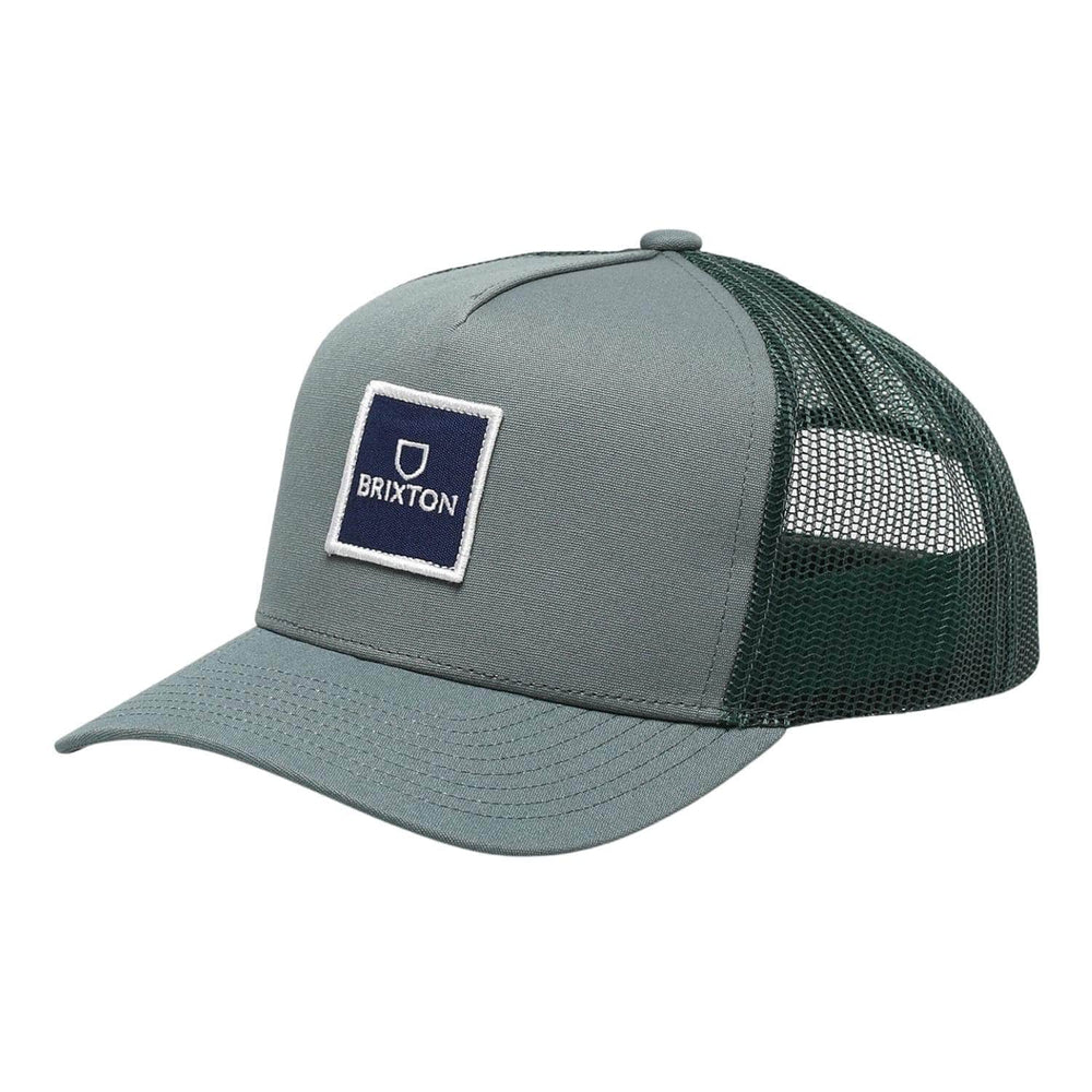 Brixton Alpha Block X MP Mesh Cap Silver Pine One Size - Snapback Cap by Brixton One Size