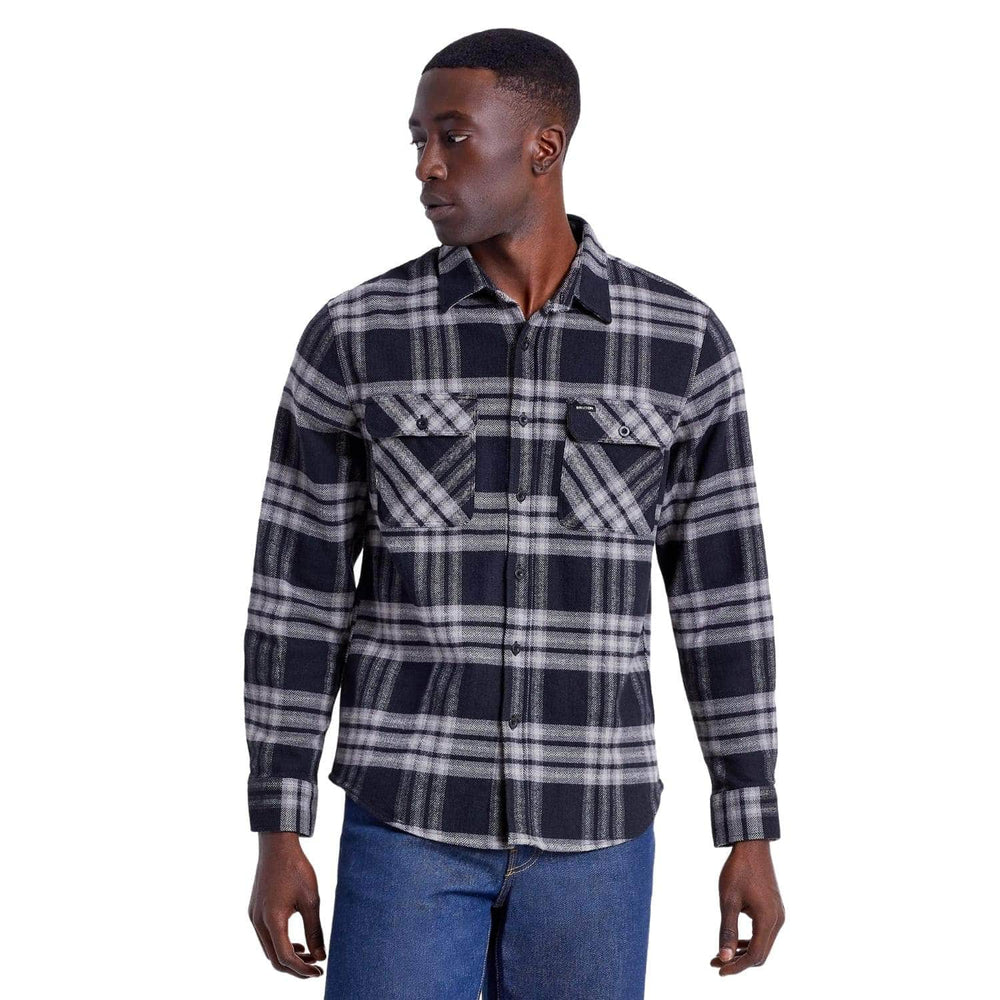 Brixton Bowery L/S Flannel Shirt - Black/Charcoal