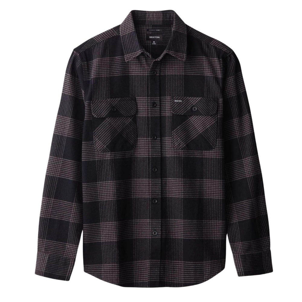 Brixton Bowery L/S Flannel Shirt Black/Steel - Mens Flannel Shirt by Brixton