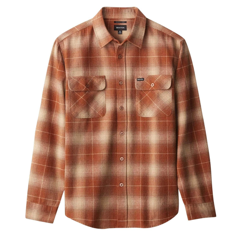 Brixton Bowery L/S Flannel Shirt Copper - Mens Flannel Shirt by Brixton